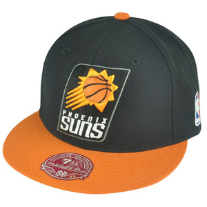 NBA Mitchell Ness Phoenix Suns G098 XL Logo 2-Tone Fitted Black Hat Cap