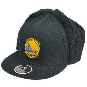 NBA Adidas Golden State Warriors Fitted Ear Flap Hat Cap Black Fleece Trapper