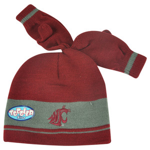 NCAA Washington State Cougars Gloves & Knit Set Toddler Cuffless Hat Striped