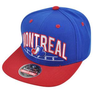 MLB American Needle Montreal Expos Archer Snapback Flat Brim Adjustable Hat Cap