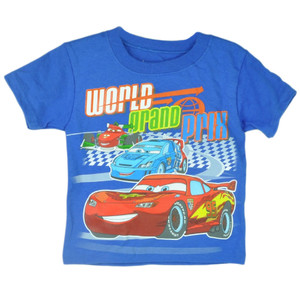 Disney Cars 2 Movie Animation Cartoon Toddler Shirt Tee Blue Lighting McQueen