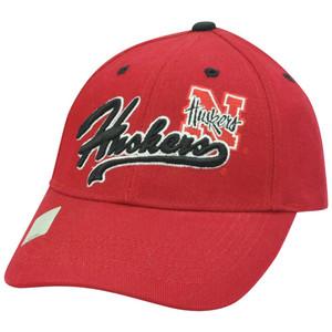 NCAA Nebraska Corn Huskers Script Blackshirts Constructed Velcro Red Hat Cap
