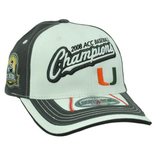 MIAMI HURRICANES ACC CHAMPS 2008 WHITE CAP HAT ADJ UM
