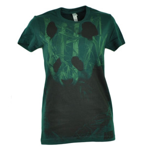 Animal Planet Panda Bear Incognito Hunter Green Women Ladies Tshirt Tee