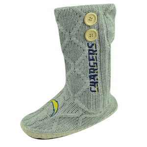 NFL San Diego Chargers Button Cable Knit Boots Crochet Womens Ladies Grey