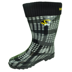 NCAA Missouri Tigers Rain Boots Plaid Cuffed Womens Ladies Weather Black