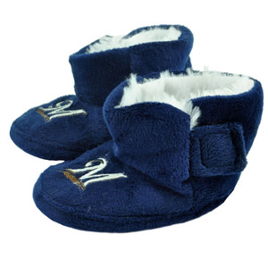 MLB Milwaukee Brewers Infant Baby Faux Fur Sport Team Slippers Warm Booties