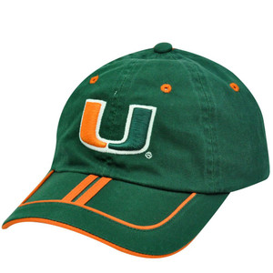 NCAA Miami Hurricanes UM Florida Green Orange Garment Wash Stripe Hat Cap Velcro