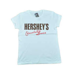 Hersheys Brand Milk Chocolate Lover Women Ladies White Tshirt Candy Tee
