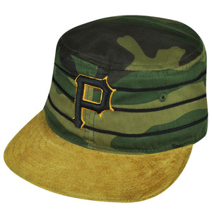 MLB American Needle Pittsburgh Pirates Camouflage Pill Box Suede Sun Buckle Hat