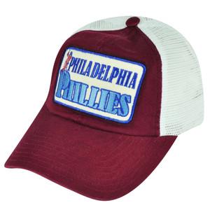 MLB American Needle Philadelphia Phillies Mesh Snapback Relaxed Hat Cap Burgundy