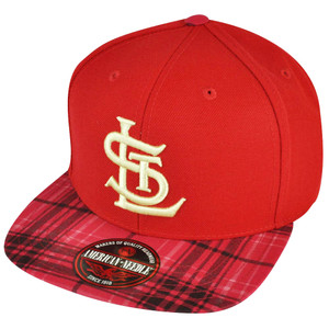 MLB American Needle St Saint Louis Cardinals Strap Back Solid Red Plaid Hat Cap