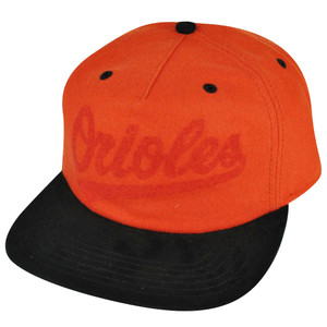 MLB American Needle Baltimore Orioles Strap Back Orange Hat Cap Flat Bill Suede
