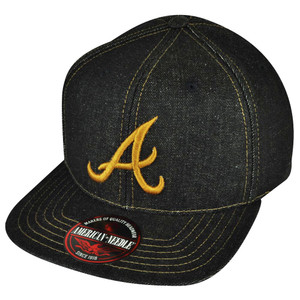 MLB American Needle Atlanta Braves Dark Denim Flat Bill Hat Cap Strap Back Sport
