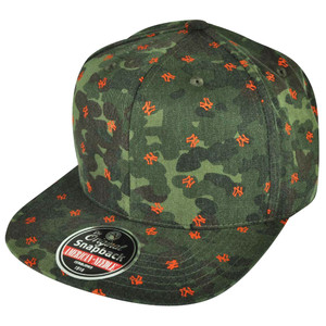 MLB American Needle New York Yankees All Over Logo Camouflage Snapback Hat Cap