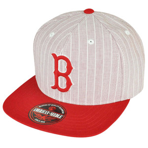 MLB American Needle Boston Red Sox Strap Back Red Toned Striped Cotton Hat Cap