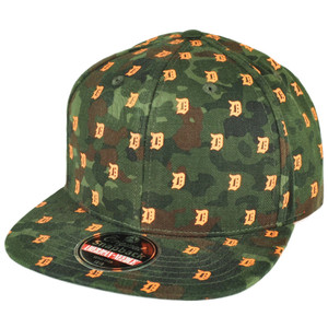 MLB American Needle Detroit Tigers Flat Bill Snapback Hat Cap Mini Logos Green
