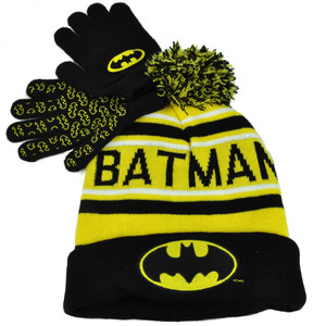 Batman Striped Pom Pom Cuffed Knit & Gloves Beanie Yellow Black Super Hero Hat