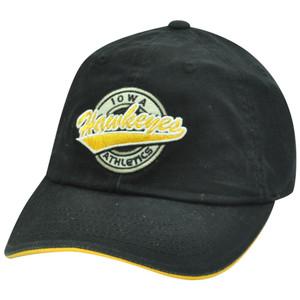 NCAA Iowa Hawkeyes Felt Logo Garment Wash Sun Buckle Circle Adjustable Hat Cap