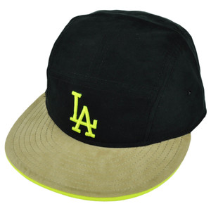 MLB American Needle Los Angeles Dodgers Black Snapback Hat Cap Flat Bill Suede