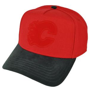 NHL American Needle Calgary Flames Suede Visor Snapback Trucker Red Hat Cap Sport