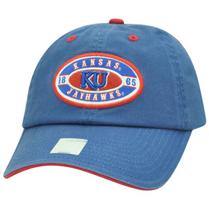 NCAA Kansas Jayhawks KU 1865 Garment Washed Slouch Relaxed Adjustable Velcro Hat