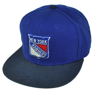 NHL American Needle New York Rangers Flat Bill Suede Snapback Hat Cap Blue Sport
