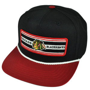 NHL American Needle Chicago Blackhawks Flat Bill Snapback Hat Cap Black Sports