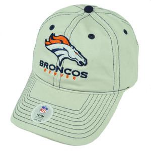 NFL Denver Broncos Khaki Barber Stone Relaxed Slouch Velcro Hat Cap Sports Beige