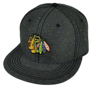 NHL American Needle Chicago Blackhawks Flat Bill Gray Snapback Hat Cap Sports