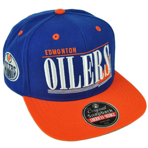 NHL American Needle Edmonton Oilers Snapback Flat Bill Blue Orange Hat Cap Sport