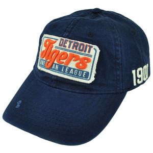 MLB American Needle Detroit Tigers Baseline Clip Buckle Blue Relaxed Hat Cap