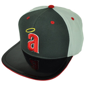 MLB American Needle Los Angeles Angels Snapback Faux Leather Flat Bill Hat Cap