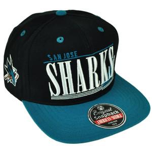 NHL American Needle San Jose Sharks Snapback Flat Bill Black Hat Cap Sports
