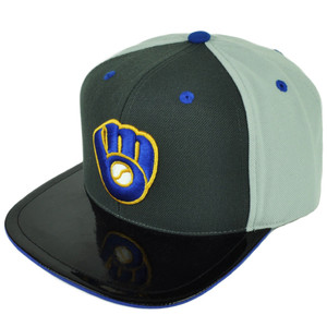 MLB American Needle Milwaukee Brewers Snapback Faux Leather Flat Bill Hat Cap