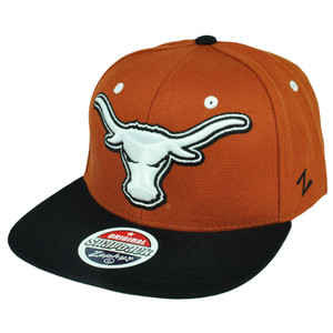 NCAA Zephyr Texas Longhorns Refresh Flat Bill Original Snapback Black Hat Cap