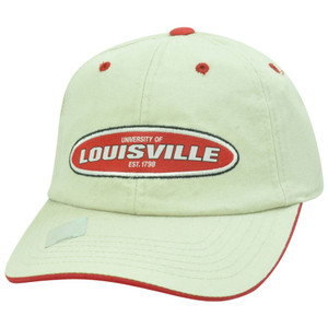 NCAA Louisville Cardinals Beige Garment Washed Slouch Relaxed Sun Buckle Hat Cap