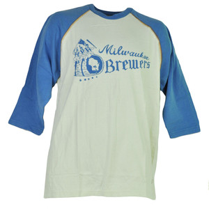 MLB Milwaukee Brewers Mid Sleeve Blue White Tshirt Tee Mens Crew Neck Adult