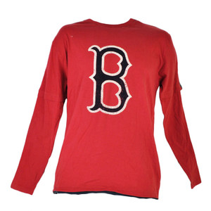 MLB Boston Red Sox Crew Neck Long Sleeve Distressed Tshirt Tee Mens Cotton Sport