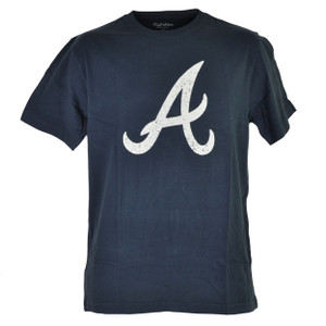 MLB Atlanta Braves Mens Adult Tshirt Tee Blue Distressed Short Sleeve Cotton