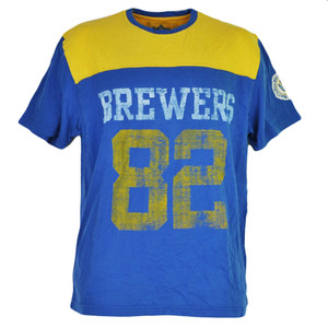 MLB Milwaukee Brewers Blue Distressed 82 Short Sleeve Tshirt Tee Mens Adult