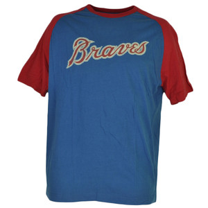 MLB Atlanta Braves Short Sleeve Blue Red Mens Adult Tshirt Tee Crew Neck Cotton