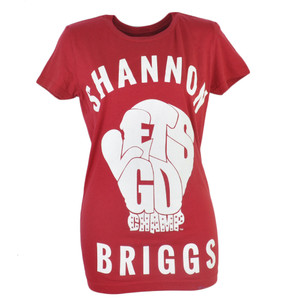 Shannon Briggs The Cannon Lets Go Champ Womens Tshirt Tee Boxer Red Boxer Ladies