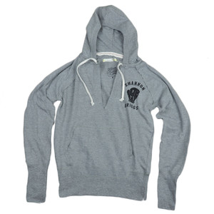 Shannon Briggs The Cannon Lets Go Champ Womens V Neck Sweater Hoodie Gray Boxer