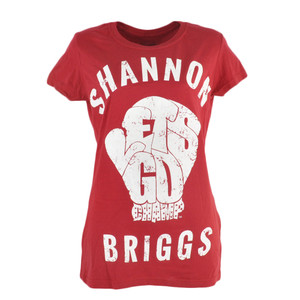 Shannon Briggs The Cannon Lets Go Champ Womens Tshirt Tee Distressed Print Red