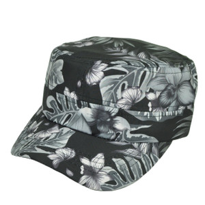Black Cadet Fatigue Velcro Leaf Pattern Adjustable Hat Cap Headline Curved Bill
