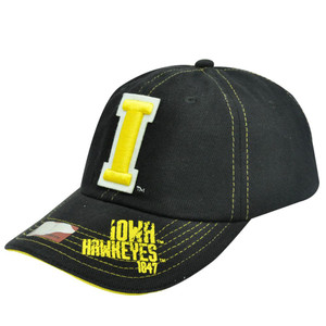NCAA Iowa Hawkeyes Black Yellow Constructed Licensed Stitched Organic Hat Cap