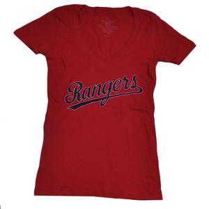 MLB Texas Rangers V Neck Tshirt Tee Large Womens Red Short Sleeve Ladies Sports