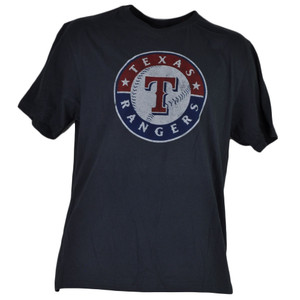 MLB Texas Rangers Medium Navy Blue Short Sleeve Crew Neck Tshirt Tee Mens Adult