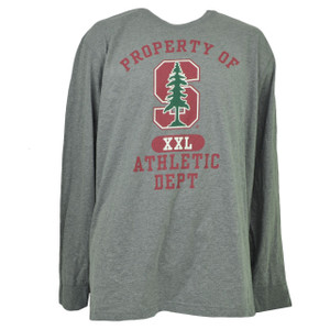 NCAA Stanford Cardinals Long Sleeve Tshirt Tee Mens 2XLarge XXL Crew Neck Gray